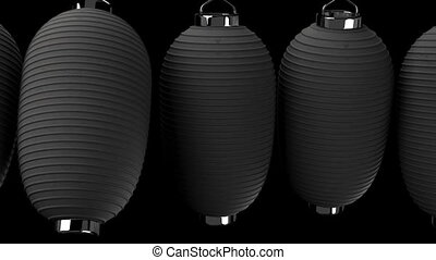 Black paper lantern on black background. Loop able 3DCG...