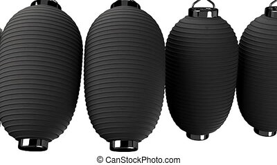 Black paper lantern on white background. Loop able 3D render...