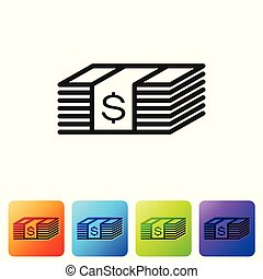 Black Paper money american dollars cash icon isolated on white background. Money banknotes stack with dollar icon. Bill currency. Set icon in color square buttons. Vector Illustration