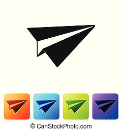 Black Paper plane icon isolated on white background. Paper airplane icon. Aircraft sign. Set icon in color square buttons. Vector Illustration