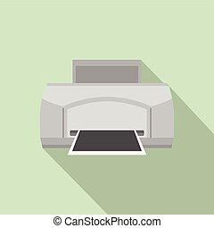 Black paper printer icon, flat style