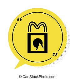 Black Paper shopping bag icon isolated on white background. Package sign. Yellow speech bubble symbol. Vector