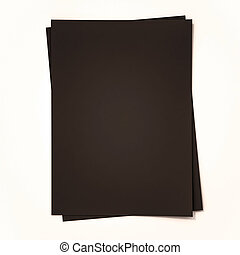 Black papers on white background