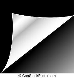black , papier, pagina, met, krul