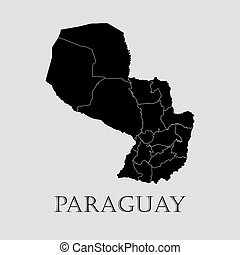 Black Paraguay map - vector illustration