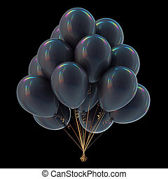 Black party balloons bunch colorful. Dark festive helium balloons