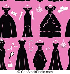 Black party dresses Silhouette seamless pattern