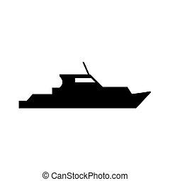 Black Patrol boat symbol for banner, general design print and websites. Illustration vector.