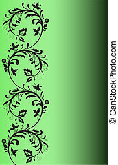 Black pattern on a green background