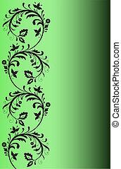 Black pattern on a green background