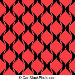 Black pattern on red background. Seamless pattern.