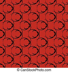 Black pattern on red seamless design.
