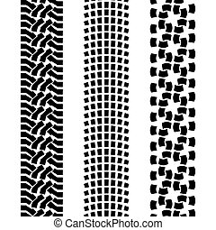 Black pattern prints from a different offroad car tyres