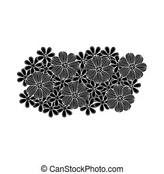black pattern with white contour floral design