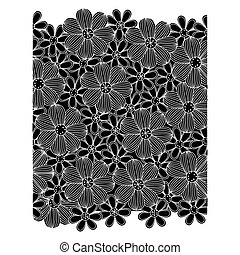 black pattern with white contour flowers set