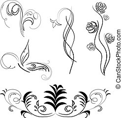 Black patterns isolated, vector illustration