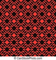 Black patterns on  red  background. Seamless pattern. Abstract vector.