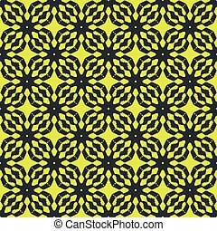 Black patterns on yellow background. Seamless pattern. Abstract vector.
