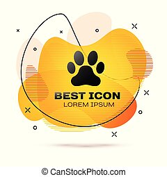 Black Paw print icon isolated on white background. Dog or cat paw print. Animal track. Fluid color banner. Vector Illustration
