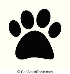 Black paw print tetradigitate on white background