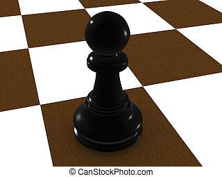 black pawn. 3d