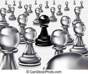 black pawn among whites