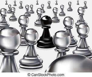 black pawn among whites