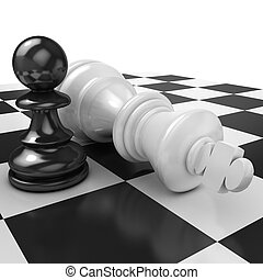 Black pawn and white king