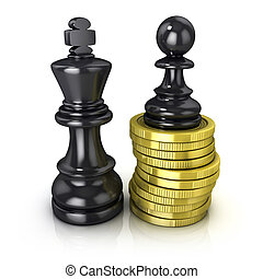 Black pawn on coins and king - Black pawn standing on coins...