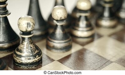 black pawns row - vintage wooden chess with focus on pawns,...