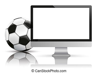 Black PC Monitor Football Mockup Mirror