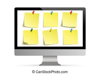 Black PC Monitor Mockup Yellow Stickers