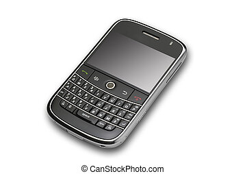 angle view of modern pda on white with shadow and clipping path