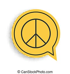 Black Peace sign icon isolated on white background. Hippie symbol of peace. Yellow speech bubble symbol. Vector