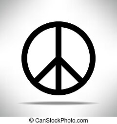 Black Peace symbol on white grey background