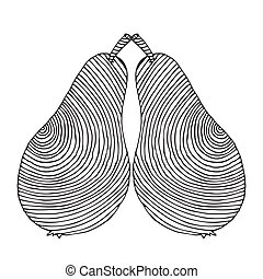 black pear label on simple white background