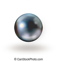Black pearl isolated on white with drop shadow