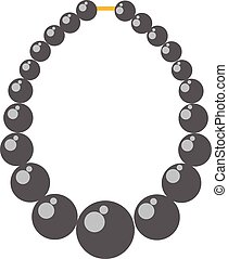Black pearl necklace bead vector illustration. - Black pearl...