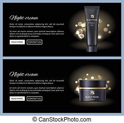 Black Pearl Night Cream Container Vector Icon