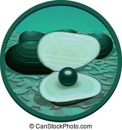 Black pearl on a sea-bottom - Fantasy black pearl in an...