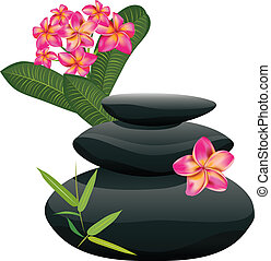 Black pebble with flower - Zen stones heap with bamboo...