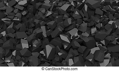 Black pebbles pile abstract background.