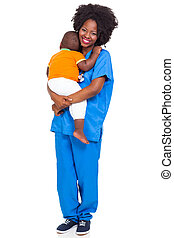 Black pediatric nurse with child