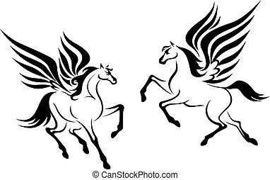 Black pegasus horse with wings - Black pegasus horses with...