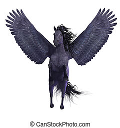 Black Pegasus on White