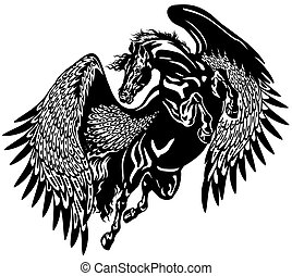 black pegasus - pegasus horse black and white tattoo...