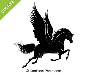 black , pegasus, silhouette