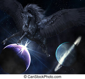 black Pegasus - a black Pegasus flies through the space