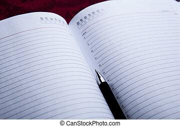 black , pen, dagboek