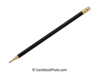 Black pencil isolated on white with clipping path